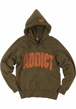 ADDICT College Zip Up Hoody olive