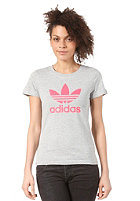 ADIDAS Womens Adi Trefoil S/S T-Shirt medium grey heather/red zest s13