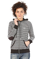 ADIDAS Womens French Terry Track Top Hooded Zip Sweat Striped black/running white