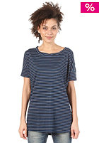 ADIDAS Womens Stripey Dre S/S T-Shirt solide blue/black