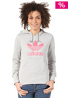 ADIDAS Womens Trefoil Hooded Sweat medium grey heather/red zest s13