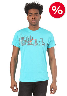 BENCH Check City S/S T-Shirt blue curacao