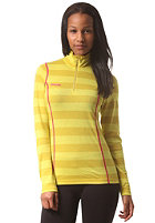 BERGANS Womens Akeleie Half Zip Longsleeve yellowgreen/lemon striped
