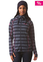 BERGANS Womens Humle Hooded Sweat navy/dusty blue striped/hot pink