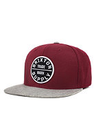 BRIXTON Oath 3 Snapback Cap burgundy/light heather grey