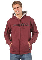 BURTON Fireside Hooded Zip Sweat heather crimson