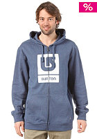 BURTON Logo Vertical Hooded Zip Sweat HEATHER TEAM BLUE