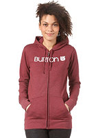 BURTON Womens Her Logo Hooded Zip Sweat HEATHER CRIMSON
