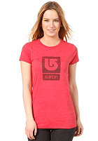 BURTON Womens Her Logo S/S T-Shirt HEATHER CARDINAL
