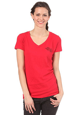 C1RCA Womens Muerta V-Neck S/S T-Shirt red