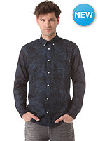 CARHARTT Cayman L/S Shirt dark blue palm print rinsed