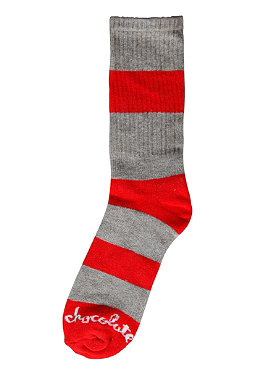 CHOCOLATE Striped Chunk Socks grey/red