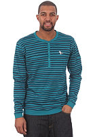 CLEPTOMANICX Sir Stripe Henley L/S T-Shirt dark turquoise