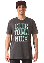 CLEPTOMANICX Typo Icon S/S T-Shirt heather black