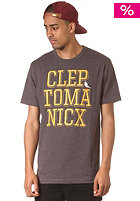 CLEPTOMANICX Typo Icon S/S T-Shirt heather dark brown