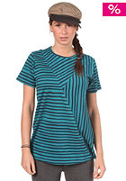 CLEPTOMANICX Womens Crossstripe S/S T-Shirt dark turquoise