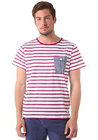 COLOUR WEAR Pocket S/S T-Shirt bordeaux stripe