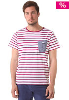 COLOUR WEAR Pocket S/S T-Shirt bordeaux stripe