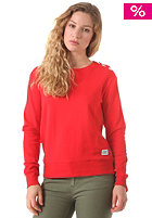COLOUR WEAR Womens Button Crew Sweatshirt red