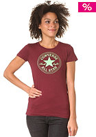 CONVERSE Womens 1 Col Chuck Patch Crew S/S T-Shirt burgundy