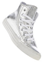 CONVERSE Womens Chuck Taylor All Star Hi Glam Suede silver/white