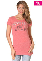 CONVERSE Womens Converse All Star Crew S/S T-Shirt v. red heather