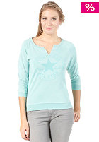CONVERSE Womens WK Graphic Shrunken Crew Knit Sweat aqua sky
