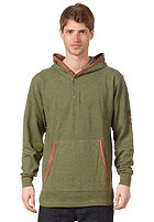 FALLEN District Henley Hooded Sweat heather surplus green