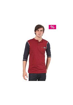 FALLEN Durham Henley L/S T-Shirt burgundy/navy