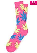 HUF Neon Plantlife Crew Sock neon pink