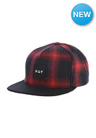 HUF Shadow Plaid Snapback Cap red