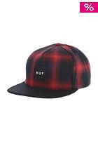 HUF Shadow Plaid Snapback Cap red