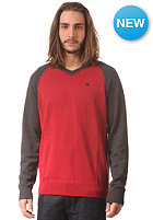 HURLEY Only V-Neck Sweat heather valient red