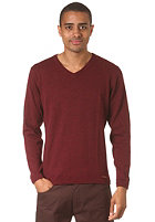 IRIEDAILY Irie Patch V-Neck Knit Sweat maroon melange