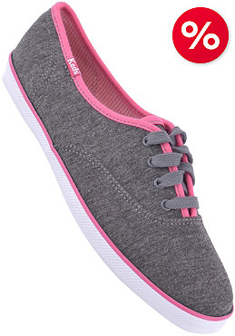 KEDS Womens Champion Heather Jersey CVO charcoal heather pink binding