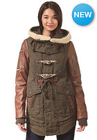 KHUJO Womens Havanna Fake Lthr Mix Jacket olive