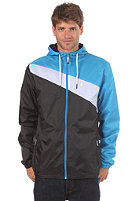 LAKEVILLE MOUNTAIN Asymmetric Premium Ripstop Windbreaker black/white/cyan