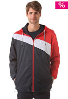 LAKEVILLE MOUNTAIN Asymmetric Premium Ripstop Windbreaker deep navy/red/white