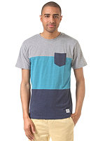 LAKEVILLE MOUNTAIN Colorblock Pocket S/S T-Shirt grey heather/aqua heather/navy heather