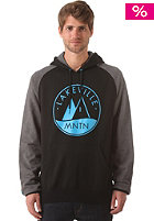 LAKEVILLE MOUNTAIN Logo Raglan Hooded Sweat black/dark grey heather/cyan