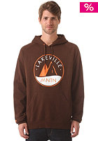 LAKEVILLE MOUNTAIN Logo Raglan Hooded Sweat brown/white/orange