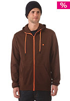 Plain Hooded Zip Sweat brown/orange