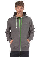 LAKEVILLE MOUNTAIN Plain Hooded Zip Sweat dark grey heather/lime