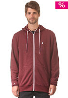 LAKEVILLE MOUNTAIN Plain Hooded Zip Sweat maroon heather/white