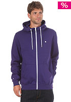 Plain Hooded Zip Sweat purple/white