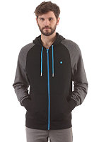 LAKEVILLE MOUNTAIN Premium Hooded Zip Sweat black/dark grey heather/cyan