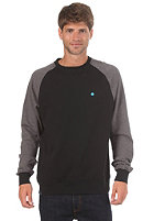 LAKEVILLE MOUNTAIN Raglan Crewneck Sweatshirt black/dark heather grey/cyan