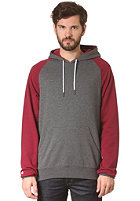 LAKEVILLE MOUNTAIN Raglan Hooded Sweat dark grey heather/maroon/white