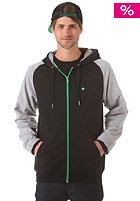 LAKEVILLE MOUNTAIN Raglan Hooded Zip Sweat black/grey heather/green