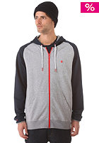 LAKEVILLE MOUNTAIN Raglan Hooded Zip Sweat grey heather/deep navy/red